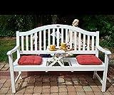 Dekorative Gartenbank mit ausklappbarem Tisch - 3 Sitzer