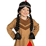 indios peluca Niños indios peluca Apache peluca Pocahontas trenzado peluca negra de pelo largo peluca Squaw Carnaval peluca Chica Disfraces