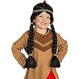Indianerperücke Kinder Indianer Perücke Apache Kinderperücke Pocahontas Zopfperücke Schwarze Langhaarperücke Squaw Faschingsperücke Mädchen Karneval Kostüme