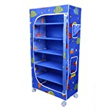"Little One's 6 Fabric Shelves Folding Wardrobe- Aquatic Blue With Powder Coated Strong And Sturdy Steel Structure (USP), Dimensions: 22"" X 12"" X 45"""