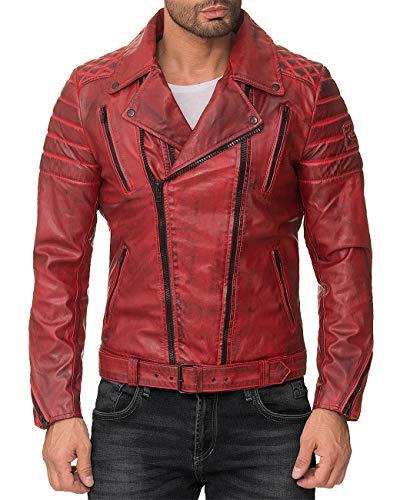 Reichstadt - giacca da motociclista, in similpelle, da uomo, per il tempo libero bordeaux - rs003 pu - black zipper l