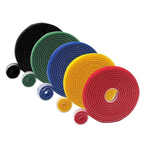 Bornfeel Cinta de Velcro Cables 5 Rollos 5 Colores Organizador de Cables...