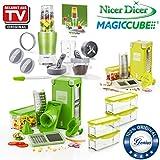 Genius Nicer Dicer Magic Cube | Deluxe-Set | 40 Teile | Obst- und Gemüseschneider | Bekannt aus TV | NEU