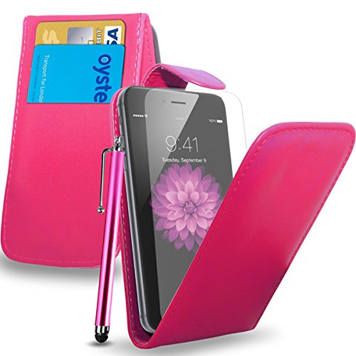 Apple iPhone 6S - Leder-Schlag-Fall-Abdeckungs-Beutel + Touch Stylus Pen + Screen Protector & Poliertuch (rot) Hot Pink
