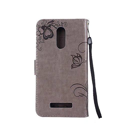 Horizontale Bookstyle Flip Case Premium PU Ledertasche, Solid Color Embossed Blumen Schutzmappe Beutel Case Cover mit Lanyard & Stand für Xiaomi Hongmi Hinweis 3 ( Color : Rose gold ) Gray