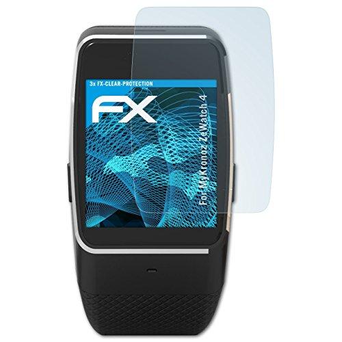 atFoliX Schutzfolie kompatibel mit MyKronoz ZeWatch 4 Folie, ultraklare FX Bildschirmschutzfolie (3X)
