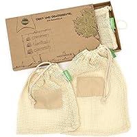 TreeBox Wiederverwendbare Obst- und Gemüsebeutel aus Baumwolle - 3er Set - Mit Gewichtsangabe und perfektem Halt für Preisetiketten - Umweltfreundliche Einkaufsnetze