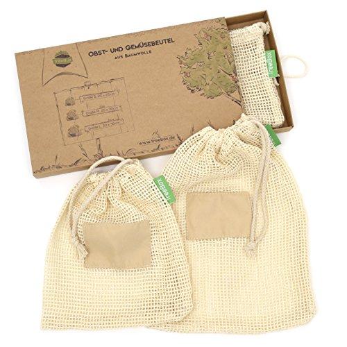 TreeBox Wiederverwendbare Obst- und Gemüsebeutel aus Baumwolle - 3er Set - Mit Gewichtsangabe und Feld für Etiketten - Umweltfreundliche Einkaufsnetze