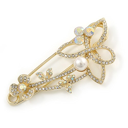Oversized Clear/ AB Crystal, Pearl Floral Safety Brooch In Gold Tone Metal - 90mm L