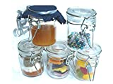 Gr8 Home Set Of 12 Mini Glass Clip Top Spice Storage Preserving Jars Jam Container Food Canisters Herbs Pot (Clear)