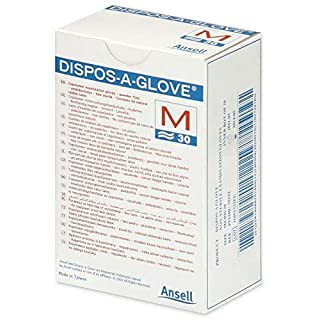 Ansell Dispos-A-Glove, Powder Free Examination Gloves, Medium, Box of 30