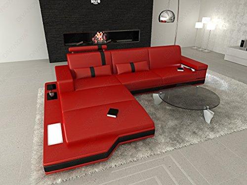 Divanova | divano moderno proxima angolare in vera pelle e similpelle - rosso e nero