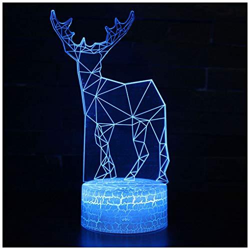 FXQ Kreative 7 Farbwechsel 3D Deer Neben Licht, Acryl Plat USB Powered LED-Lampe mit Touch/Remote für Present Home Party Geschenke für Kinder
