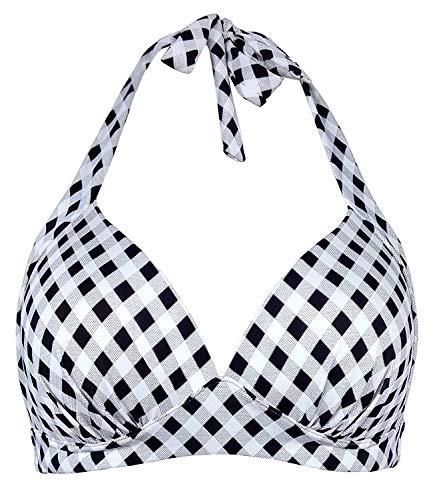 Doballa Damen Retro 50er Jahre Kariertes Muster Polka Dot Halfter geformt weiche Pads Vintage Bikini Badeanzüge Tops (L, Schwarzes Karo)