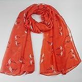 Lungo da donna morbido arancione bruciato fenicottero sciarpa regalo leggero l 180cm