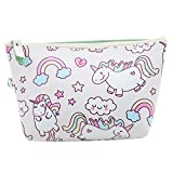 ODN Einhorn Schminkbeutel Kosmetik-Tasche Unicorn Täschchen Federmappe Geschenk Beutel Mädchen,Weiß