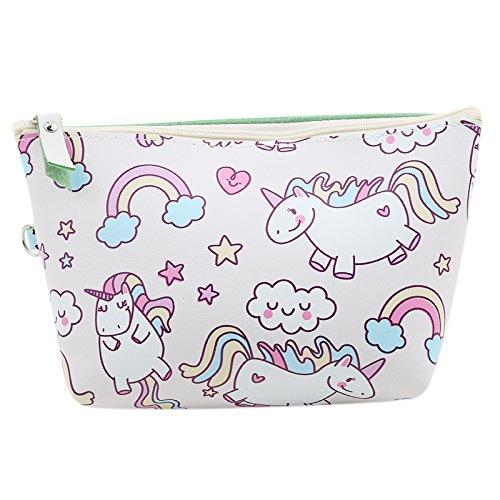(ODN Einhorn Schminkbeutel Kosmetik-Tasche Unicorn Täschchen Federmappe Geschenk Beutel Mädchen,Weiß)