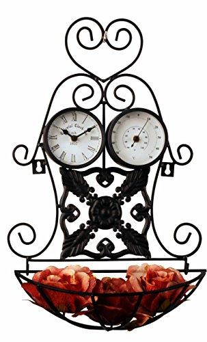 Orologio da parete con stazione meteorologica e vaso da fiori per interni ed esterni - tinas collection