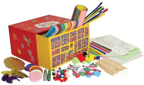 Mister Maker Doodle Drawers, bumper craft kit. In its own handy storage box the drawer is full of 4 projects to follow with instructions including a farmyard scene. Glue, glitter,sticks, - Maker Kit Pom-pom