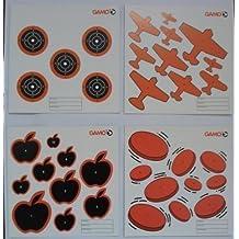 Gamo - Objetivos de Perdigones de Rifle / Pistola / Arma de Aire - Paquete de 100 objetivos mezclados. Tamaño cuadrado de 14 centímetros. 25 de cada uno de aeroplanos, discos, manzanas y dianas (También vea nuestro conjunto de objetivo de diana más g