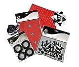 marcello55–Kit Juventus: Set Geschenkbox mit 4Blatt Papier mit Logos Juve, 12Schleifen Weiß Schwarzen und 4Bänder Satin schwarz