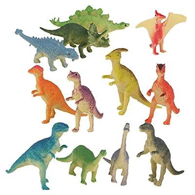 Plastic Model Jurassic Dinosaur Figures Kids Toy Set of 12pcs Multi-color