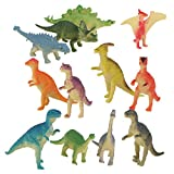 PANYTOW Plastic Model Jurassic Dinosaur Figures Kids Toy Set of 12pcs Multi-color