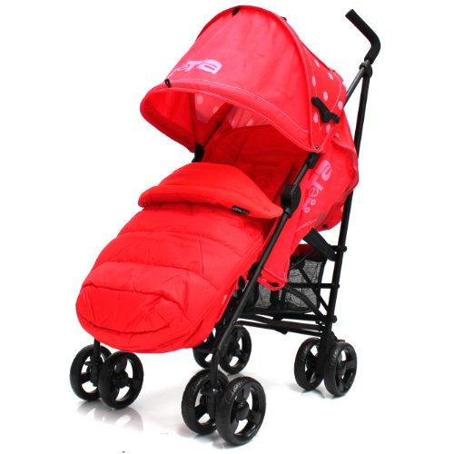 Zeta Vooom Warm Red (DOTS Complete MC F/M) With Large Toddler Footmuff And Rain Cover