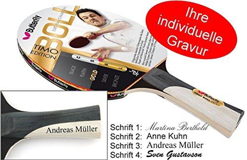 Preisvergleich Produktbild Timo Boll Gold - Tischtennisschläger Butterfly Edition mit Geschenk Gravur