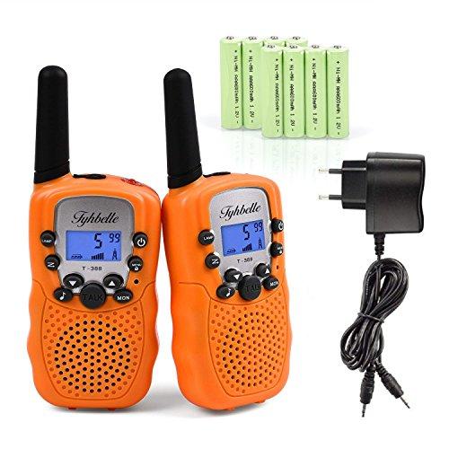 2x Kids smart Walkie Talkies inkl. AKKU Wiederaufladbare T-388 Funkgerät für Mädchen Jungen Kinder (Orange)