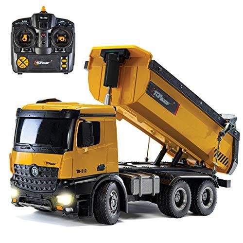 Top Race Camión volquete de construcción de Control Remoto, Juguete de camión volquete RC, vehículo de Juguetes de construcción, báscula de construcción de Metal Pesado Grande 1:14, 22 LBS de