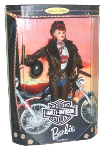 Barbie Year 1998 Motorcycles Harley-Davidson 2nd In A Series 12 Inch Doll Set with Barbie Doll, Jacket, Shorts, Chaps, T-Shirt, Belt, Scarf, Boots, Cap, Helmet, Satchel, Sunglasses, Doll Stand and Certificate of Authenticity Chap-boot
