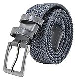 Cintura Intrecciata, in Tessuto Elastico Con Inserti in Vera Pelle, Made in Italy, Unisex (115 (50-52), Grigio)