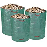 Schramm Lot DE 3Sacs de Jardin de Snorkeling en 1x 160L, 1x l et 1x 500L Vert Résistants Polypropylène Tissu PP Sac de Jardin Sac de Jardin Sacs Big Bag 3Pack 3Tailles