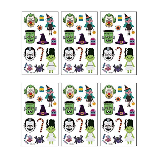 Amosfun Halloween-Tattoo-Aufkleber, Totenköpfe, Spinne, wasserdicht, temporär, dekorativ, für Kinder, 12 Stück
