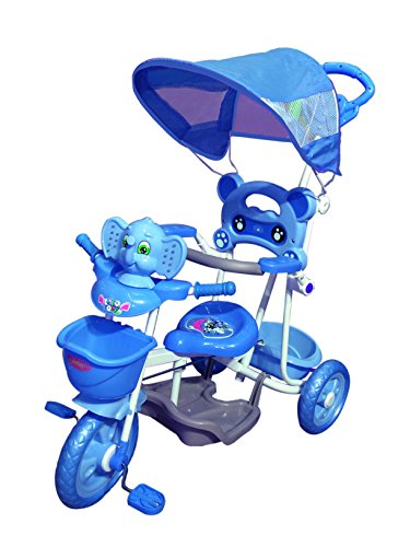 BabyGo Musical Elephant Kids Tricycle with Shade & Parental Control Blue