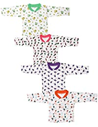 Babeezworld Baby Cotton Front Open Full Sleeves Vest Tshirt Jhabla Top Suitable For Girls & Boys (Kids Pack Of 4)