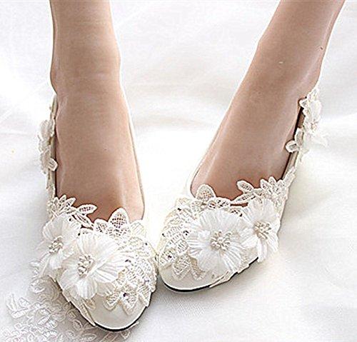 Jingxinstore Blanc Chaussures De Mariage En Dentelle Nuptiale Perles Plates
