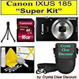 Canon IXUS 185 Digitalkamera (Schwarz) Super Kit