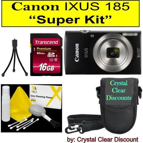 Canon IXUS 185 Digitalkamera (Schwarz) Super Kit