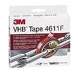3M VHB Cinta Adhesiva 4611F para Altas Temperaturas y Metales, 19 mm x 3 m, 1,1 mm, 1unidad, Gris