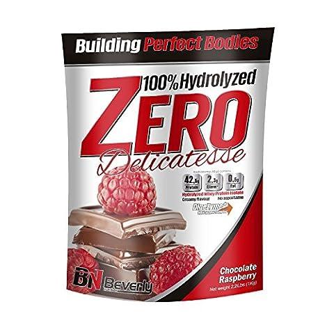 Beverly Nutrition Exclusive pour ABSat40 Delicatesse Zero Formule de protéines hydrolysées professionnelles - 42,5 grammes de protéines par portion. - 1 KG (Framboise au chocolat)