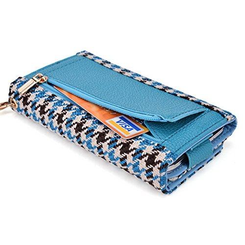 Kroo Housse de transport Dragonne Étui portefeuille pour pour Motorola Moto X/G/E Blue and Red Blue Houndstooth and Blue