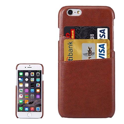 Wkae Case Cover Für iPhone 6s Plus-Lammfell Textur Leder rückseitige Abdeckung mit Kartensteckplätze ( Color : Brown ) Brown