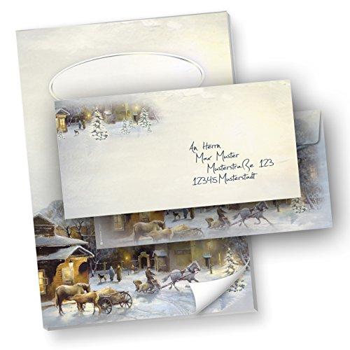 Briefpapiermappe Set Weihnachten WINTER-AQUARELL (40-tlg.) mit Schreibblock A4 und Umschläge