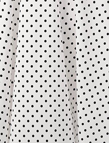 Dressystar Vintage Tupfen Retro Cocktail Abschlussball Kleider 50er 60er Rockabilly Neckholder Weiß