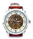 Automatik-Uhren Business-Watches Leder-Armband Herren Damen Designer-Uhr weiss braun