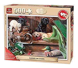 King Puzzle Plus Puppies On Stairs 500 pcs Puzzle - Rompecabezas (Puzzle Rompecabezas, Fauna, Adultos, Prodigar, Perro, Hombre/Mujer)