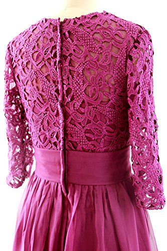 MACloth Women Half Sleeve Lace Long Mother of Bride Dress Formal Evening Gown Lavendel