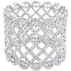 EVER FAITH® - Cristal Austriaco Capas Gotas de Lágrimas Wide Estirable Novia Brazalete Plata-Tono N04428-1